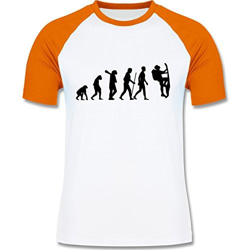 Evolution - Klettern Evolution - zweifarbiges Baseballshirt für Männer Weiß/Orange