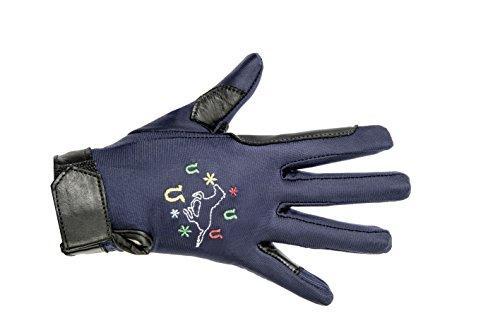 HKM PRO TEAM Kinder Reithandschuhe Galoppierendes Pferd Handschuhe, Dunkelblau, 6