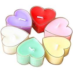 12 unidades velas de corazón distintos colores