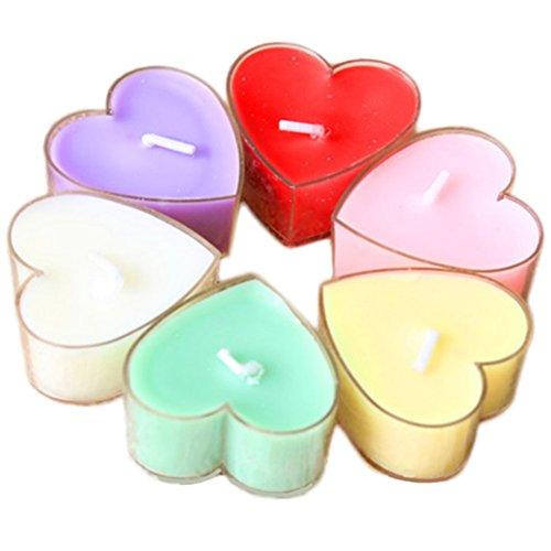 Milopon 12x Bougies Forme de Cœur Parfumée Multicolore pour Mariage Anniversaire Décoratio