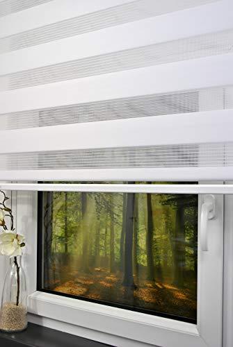 Store Double 140 cm de Large 250 cm de Long - Couleur : Blanc avec lestage Large + Cassette fermée + chaîne Alternative au Rideau ou Store plissé Duo