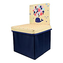 Baby Grow Children Storage Box Folding Chair Stool Under Lid Padded Seat (Beige/Blue)