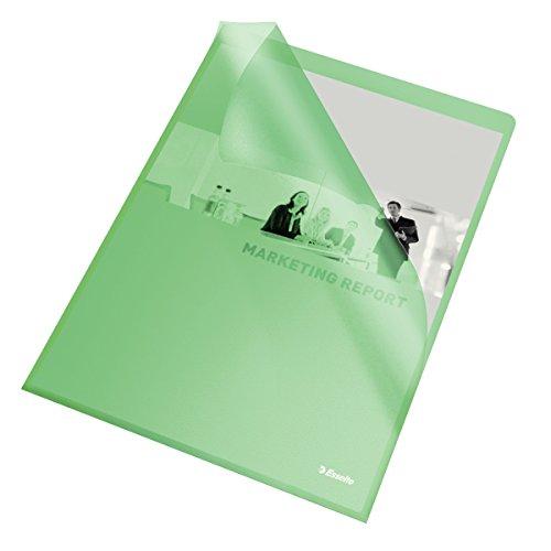 Leitz Esselte - Paquete de 100 portafolios de plástico, verde