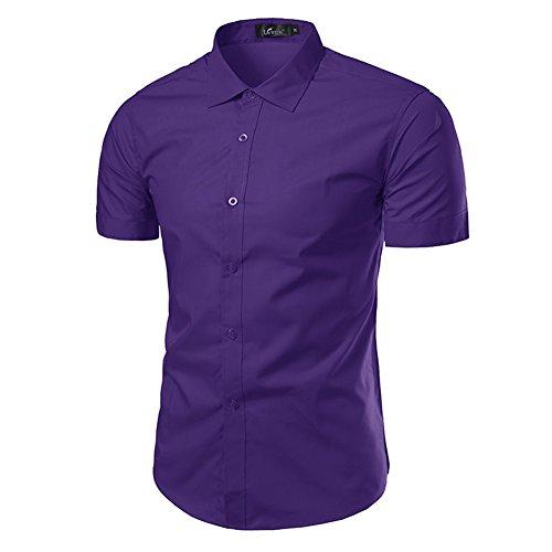 Sunshey Herren Freizeit-Hemd Violett