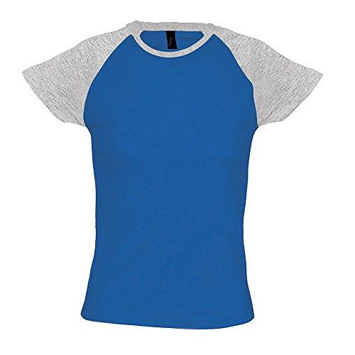 SOLS Milky Damen T-Shirt, Kurzarm, Rundhalsausschnitt, Kontrastfarben  Königsblau/Grau meliert