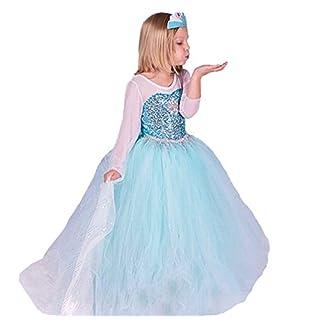 UK ELSA & ANNA® Girls Fancy Dress Snow Queen Princess Dress Halloween Costume UK-FR314 (2-3 years, UK-FR314)