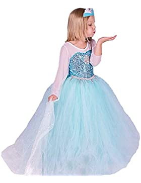 ELSA & ANNA® Mädchen Prinzessin Kleid Verrücktes Kleid Partei Kostüm Outfit DE-FR314
