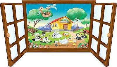 Wandtattoo Kinder Fenster Tiere Hat die Kampagne OEM 3911, 130x75cm (Kampagne Hat)