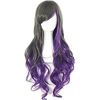 L-Peach 46cm Peluca Negro con Púrpura Pelo Recto Largo Cabello para Mujeres Niñas