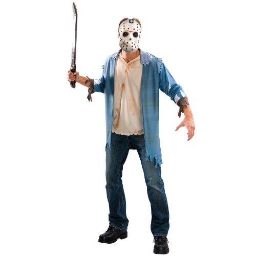 Original Lizenz Jason Voorhes Kostüm Freitag der 13 Crystal Lake Kettensäge Massaker Chainsaw massacre Gr. STD, XL, Größe:Standard