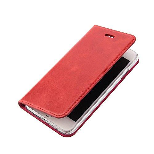 Lederschutzhülle für Das iPhone 8 Oder iPhone 7 - LEDERHÜLLE - Handgefertigt - KARTENFACH – Magnetverschluss - Farbe Rot - Case Echt-Leder-Tasche-Hülle-Case Etui Flip Case Cover Schutz-huelle