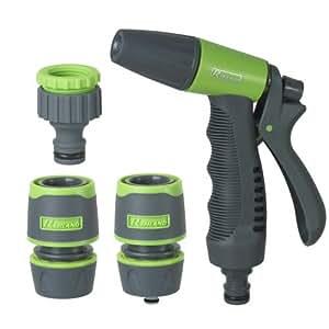 """Kit d''irrigazione con pistola - raccordi - presa rubinetto 1/2""""-3/4"""" su cartoncino"""