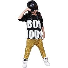 Disfraz de danza con lentejuelas para niñas niños diseño moderno de jazz  hip hop (Amarillo 868b34a218e