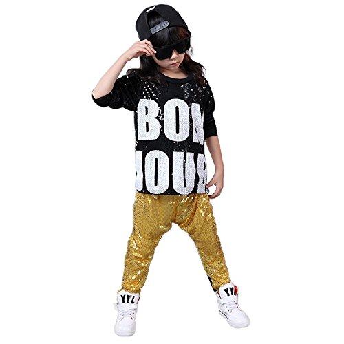 letten Hip Hop Dance Kostüme Ballsaal Modern Jazz Kleidung Top Hose (98/104, Gelb) (Hip Hop Tanz Kostüm Für Jungen)