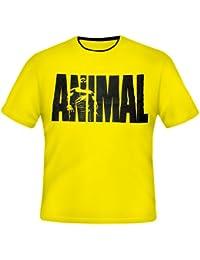 Universal Nutrition Animal T-shirt col–Double T-shirt (Jaune, XXL)