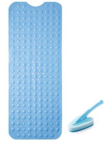 ad- und Duschmatte mit starken Greifersaugern, große Größe:100cm X40cm-beinhaltet eine kostenlose Wanne Bürste (Anti-schimmel Badematte)