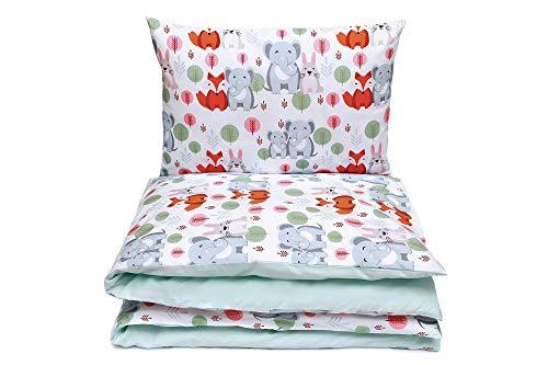 Kinderbettwäsche Set Baby Bettwäsche Bettbezug 100 x 135, fur Baby und Kinder, 100% Baumwolle Hergestellt in Europa (Elefanten)