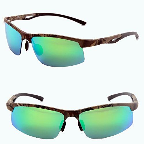 Männer Frauen Stil polarisierte Sonnenbrille Metallrahmen Sportbrillen (Camo, Grün)