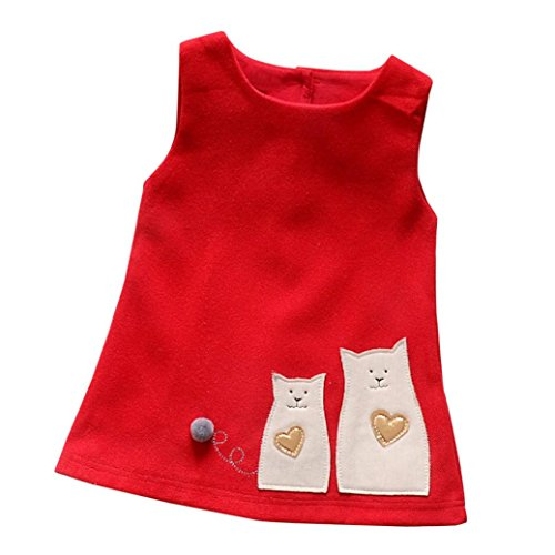 Woolen Weste Kleid Kleinkind Kinder, DoraMe Baby Mädchen Cartoon Katze Prinzessin Kleid ärmellose Süße Nette Party Kleid Baumwolle Brautjungfer Festzug Kleid (Rot, 6 Monate)
