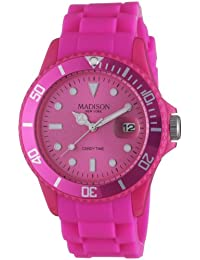 Madison New York Unisex-Armbanduhr Candy Time Analog Silikon rosa U4167-05/2