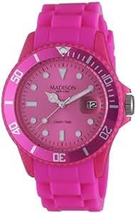 Madison New York - SU4167S - Montre Mixte - Quartz Analogique - Cadran Rose - Bracelet Silicone Rose