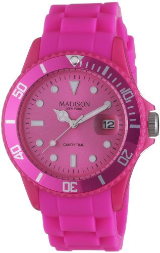 Madison New York Candy Time Silicon U4167-05/2 - Reloj analógico de cuarzo unisex, correa de silicona color rosa (agujas luminiscentes, cifras luminiscentes)