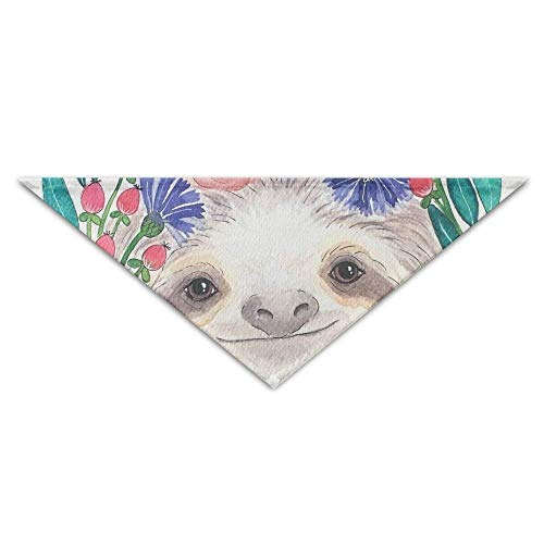 Floral Smile Sloth Dog Bandanas Scarves Triangle Bibs Scarfs Cute Basic Neckerchief Cat Collars Pet Costume Accessory Kerchief for Large&Medium&Small Puppy