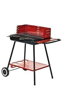 Barbecue à charbon rectangle 56 x41 cm à roulettes
