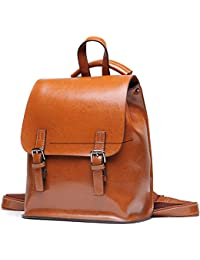 afcf2e723008 Yoome Vintage Oil-Wax Leather Backpack Multifunction Purse for Women School  Bag for Girls Travel