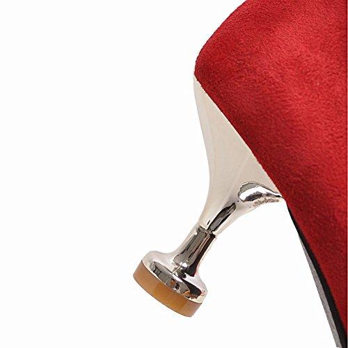 Mee Shoes Damen Stiletto Nubukleder Schleife Pumps Rot
