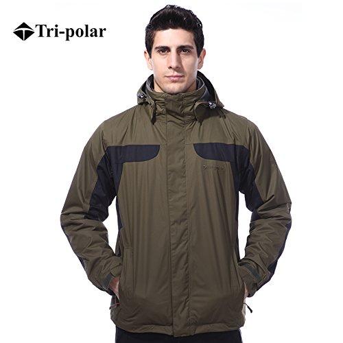Tri-polar giubbotto uomo,Outdoor 3 in 1 Sportswear giacche termiche montagna traspirante impermeabile giacca antivento giubbini sci uomo giacca snowboard, verde, XXL