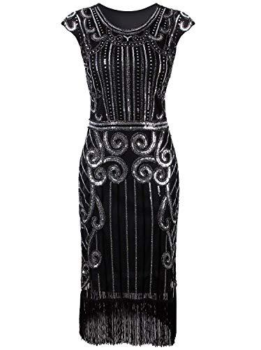 1920er Jahre Vintage inspiriert Pailletten verschönert Fringe Gatsby Flapper Kostüm Kleid (XXL(EU 44-46), Schwarz Silber)