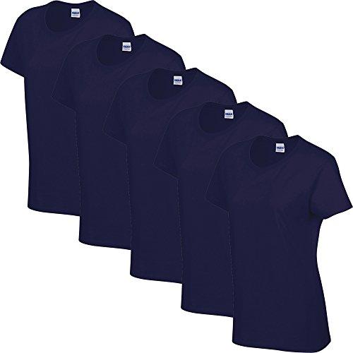 5 Pack von Gildan Heavy Cotton Damen T-Shirt Top Damen/Mädchen, Handel, alle Größen und Farben XXL 18-20 Womens,- 5 x Navy Blue (Womens Navy Blue Tops)