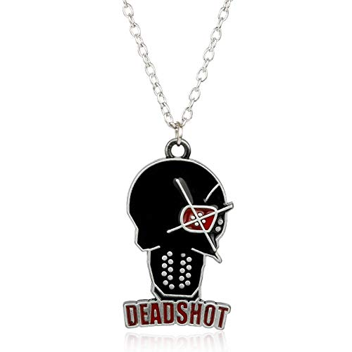 Deadshot Cosplay Kostüm - DADATU Halsketten für Herren Schmuck Comic Anime Suicide Squad Necklace Figur Deadshot Pendants Necklace Alloy Vintage Halskette Punk Necklace Gift