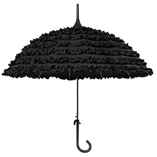 Schwarzer Regenschirm mit Acht Volants