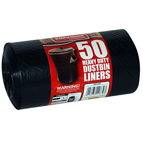 Kingfisher 50 x heavy duty 60l nero sacchetti della spazzatura sacchetti di plastica