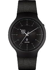 Alessi AL27002 - Reloj analógico de cuarzo unisex, correa de acero inoxidable color negro