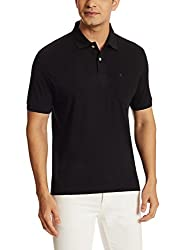 Louis Philippe Mens Polo (8907689233090_LPKW517M01939_XX-Large_Black Solid)