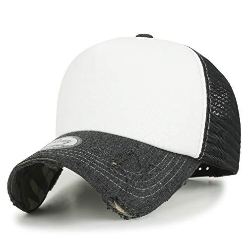 ililily Solid Color Vintage Distressed Mesh Blank Trucker Hat Baseball Cap, Black&White, X-Large