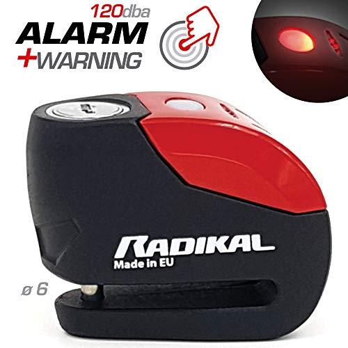 Radikal rk9 antifurto blocca disco allarme 120 db, ø 6 mm universale