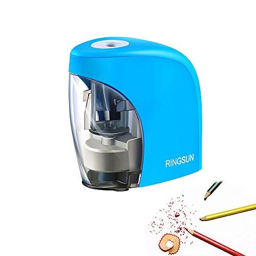 Pawaca temperamatite temperamatite elettrico, portatile, alimentazione a batteria e USB con funzione di auto per bambini per la scuola casa ufficio. (Batterie non incluse) Blue