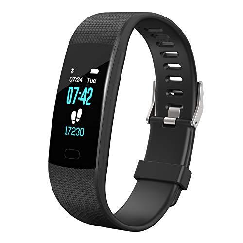 Apirka Fitness Tracker HR, Activity Tracker Uhr mit Pulsmesser IP67 Wasserdicht Schrittzähler Schlaf-Monitor, Schrittzähler, Kalorienzähler, für Android und iPhone, schwarz (Fitness-tracker-hr-monitor)
