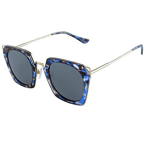 DUCO polarisierte Square Damen Sonnenbrille Cateye umrandete Mode geometrische W001 (Blau)