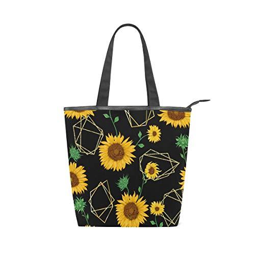 Jeansame Canvas-Tasche Einkaufstasche mit Tragegriff, Gelb, Sonnenblumen, Blumen, Schwarz -