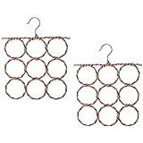 Pack of 2, Multi Scarf Scarves Hanger Display Hang Ties Belt Organize 9 Circle Storage Holder