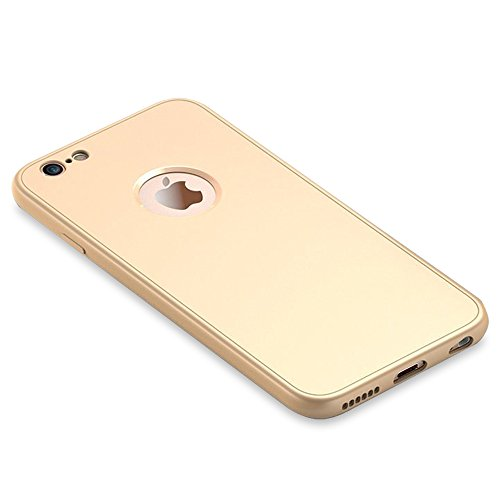 UKDANDANWEI iPhone 6 / 6s Hülle,Extrem Schlicht-Dünn-Leichte Ganzkörper-Koffer Soft TPU Cover Case & 360 Grad Schutzschild für iPhone 6 / 6s - Rot Gold