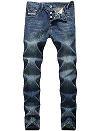 4c9d77548c Huicai Hombres Retro Azul Viejo Desgastado algodón Jeans Estirado Lavado  Slim Fit Lápiz Recto Pantalones Pantalones