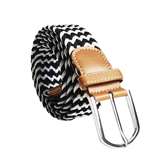 Irypulse Cinturón Trenzado de Lona elástica Hombres Mujeres Hecha elásticos Tela para Estiramiento Cuero de PU Hebilla de aleación Diputado de moda retro ocio Cinturones de Unisex Multicolor