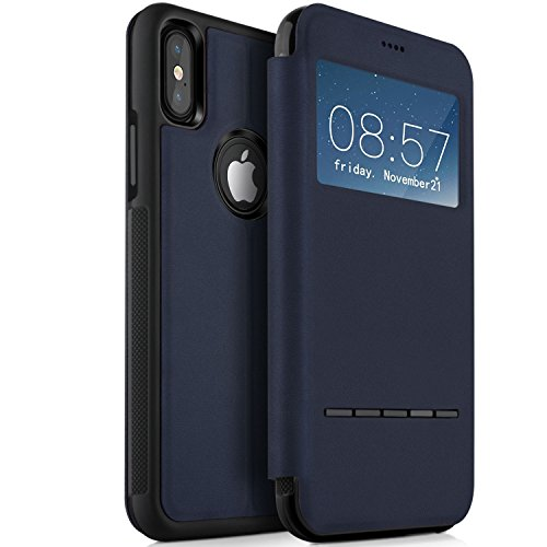 iPhone X Hülle, KuGi iPhone X Premium Deer Leder Flip Bookstyle Cover mit komplettem Schutz [S View] [Magnetischer Knopf] [Stand Funktion] Cover Case für iPhone X Smartphone (Rot) Blau