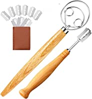 Stainless Steel Danish Dough Whisk and Bread Lame with 10 Replacement Blades for Cake Dessert Bread pastry, pi